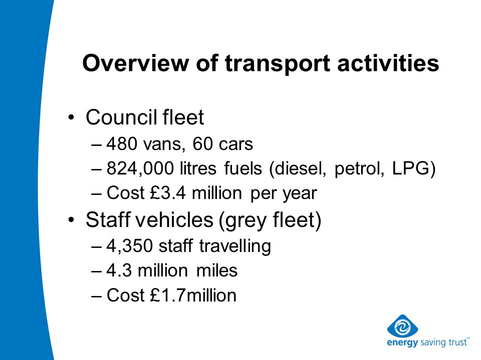 Overview of transport activities Council fleet –480 vans, 60 cars –824,000 litres fuels (diesel, petrol, LPG) –Cost £3.4 million per year Staff vehicles (grey fleet) –4,350 staff travelling –4.3 million miles –Cost £1.7million