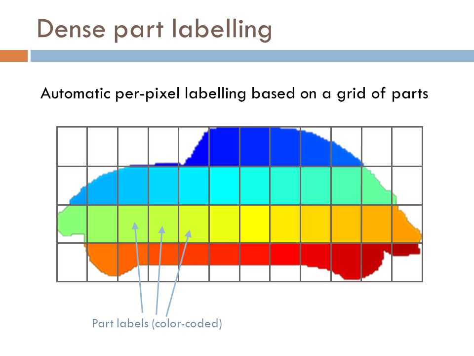 Dense part labelling Automatic per-pixel labelling based on a grid of parts Part labels (color-coded)