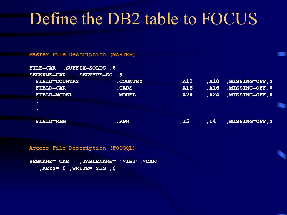 Define the DB2 table to FOCUS Master File Description (MASTER) FILE=CAR,SUFFIX=SQLDS,$ SEGNAME=CAR,SEGTYPE=S0,$ FIELD=COUNTRY,COUNTRY,A10,A10,MISSING=