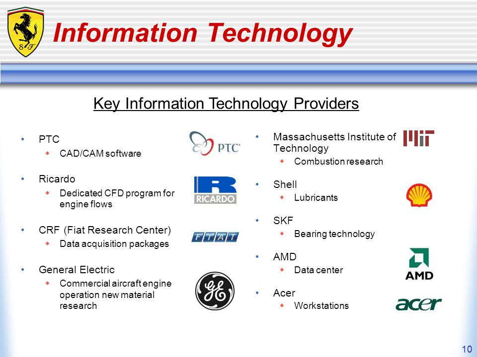10 Information Technology PTC CAD/CAM software Ricardo Dedicated CFD program for engine flows CRF (Fiat Research Center) Data acquisition packages Gen
