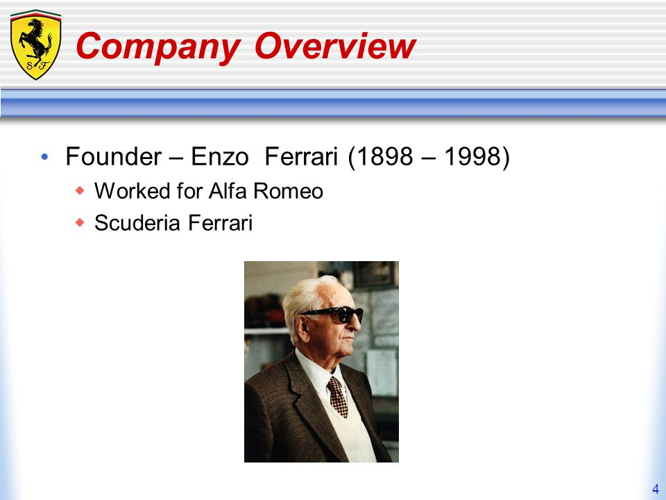5 Company Overview History of the logo Italian WWI hero – Count Francesco Baracca Prancing stallion Yellow – the color of Modena, Enzos hometown SF – Scuderia Ferrari literally means Ferrari Stable but is translated as Team Ferrari