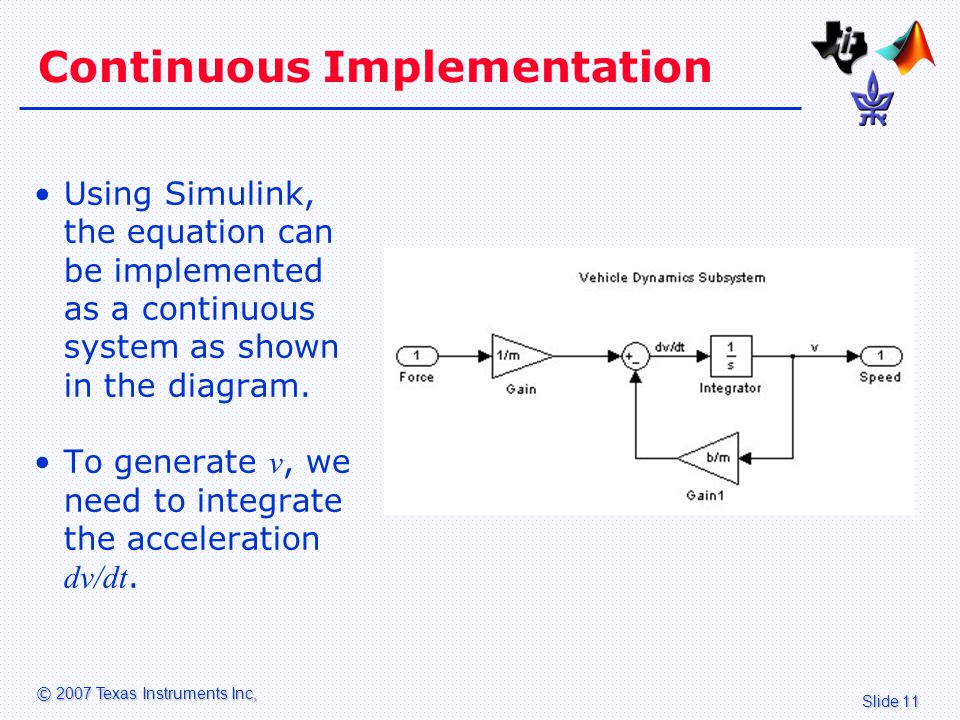 Slide 11 © 2007 Texas Instruments Inc, Continuous Implementation Using Simulink, the equation can be implemented as a continuous system as shown in the diagram.