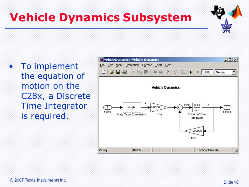Slide 18 © 2007 Texas Instruments Inc, Vehicle Dynamics Subsystem To implement the equation of motion on the C28x, a Discrete Time Integrator is required.
