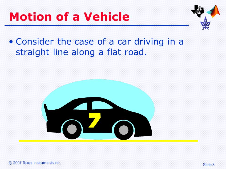 Slide 14 © 2007 Texas Instruments Inc, Description of Model The input to the system is the gas pedal, under control of the driver.