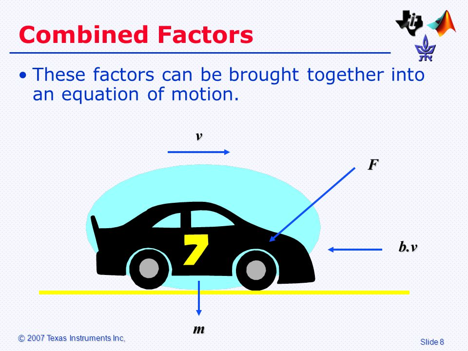 Slide 9 © 2007 Texas Instruments Inc, Differential Equation F = m.dv/dt + b.v where: –F = force provided by the engine –m = mass of vehicle –dv/dt = rate of change of velocity (acceleration) –b = damping factor (wind resistance) –v = velocity (vehicle speed)