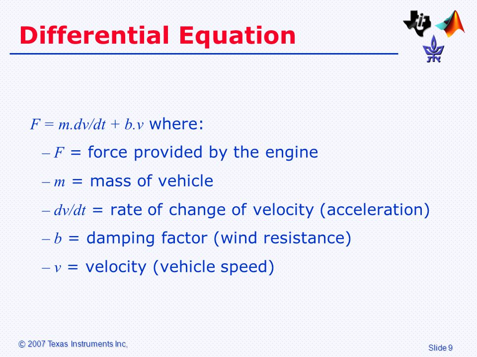 Slide 20 © 2007 Texas Instruments Inc, Tuning the Model Alter the mass m of the vehicle between 1 ton (for a small compact car) and 35 tons (for a truck).