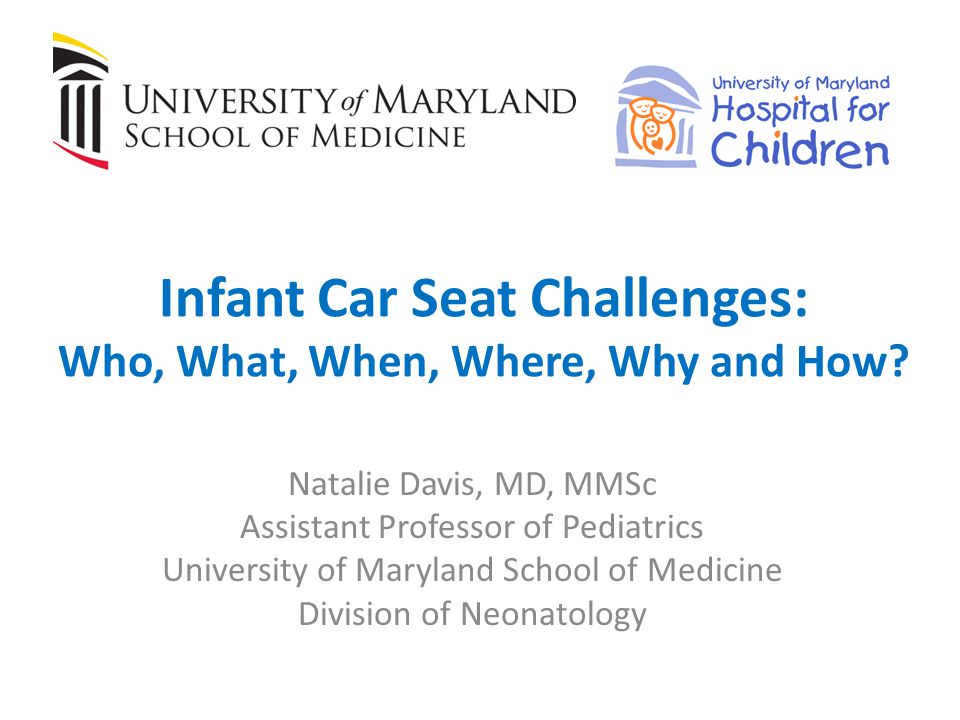 IF you must send them home in a car bed… Perform a similar period of observation (Infant Car Bed Challenge, ICBC) prior to discharge Before transitioning from a car bed to car seat, perform ICSC in the infants own semi-reclined car safety seat – At term equivalent (40 weeks) or 2-4 weeks after discharge – Repeat via pediatricians office or at pediatric pulmonologists office Test in outpatient clinic Test as inpatient with polysomnography