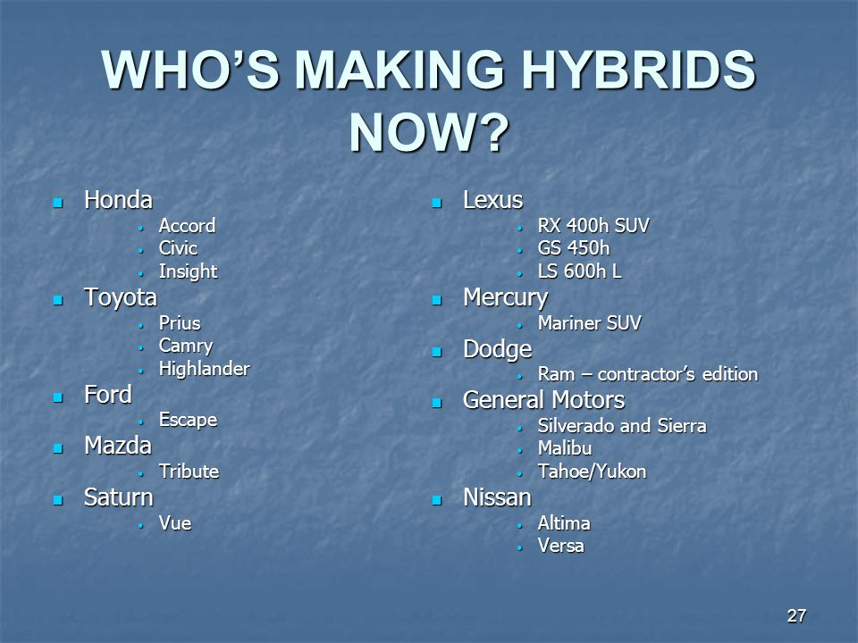 27 WHOS MAKING HYBRIDS NOW.