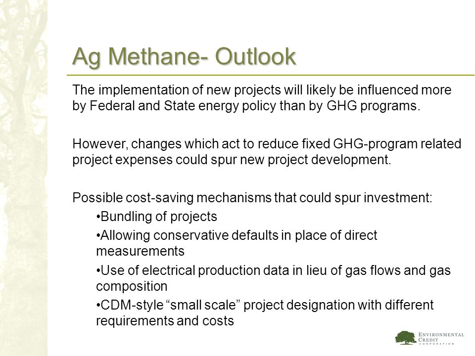 Ag Methane- Outlook The implementation of new projects will likely be influenced more by Federal and State energy policy than by GHG programs. However
