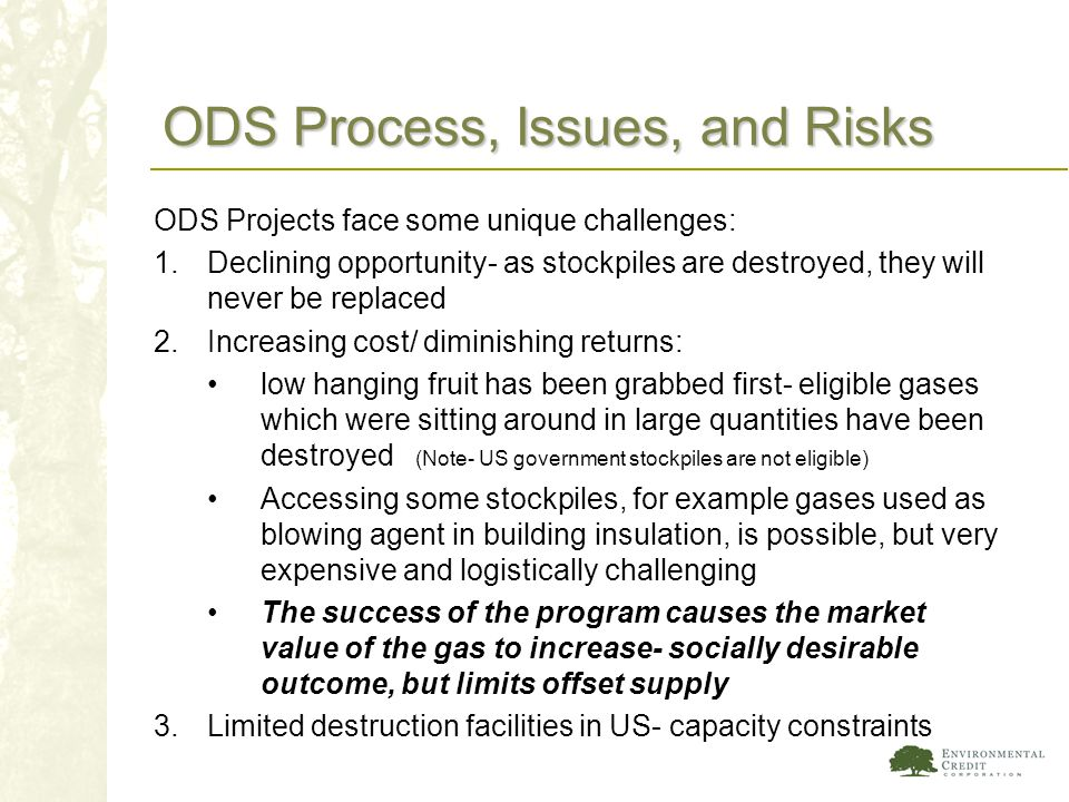 ODS Process, Issues, and Risks ODS Projects face some unique challenges: 1.Declining opportunity- as stockpiles are destroyed, they will never be repl