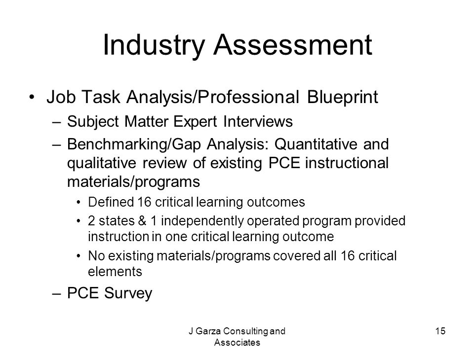 J Garza Consulting and Associates 15 Industry Assessment Job Task Analysis/Professional Blueprint –Subject Matter Expert Interviews –Benchmarking/Gap Analysis: Quantitative and qualitative review of existing PCE instructional materials/programs Defined 16 critical learning outcomes 2 states & 1 independently operated program provided instruction in one critical learning outcome No existing materials/programs covered all 16 critical elements –PCE Survey