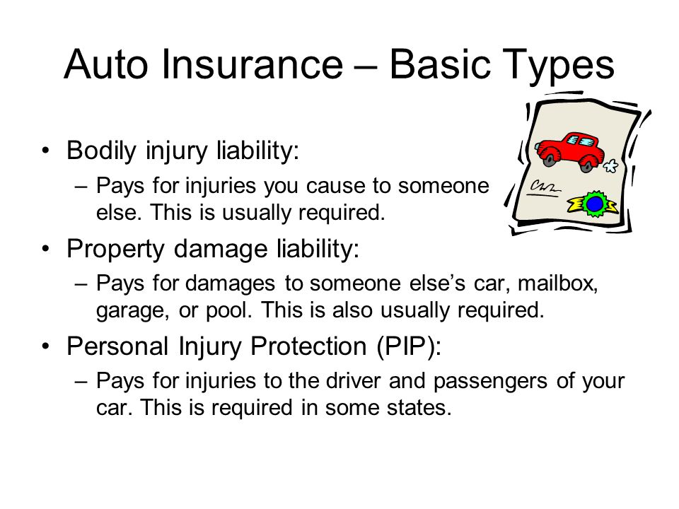 Auto Insurance – Basic Types (continued) Collision: –Pays for your car when you get in a wreck.