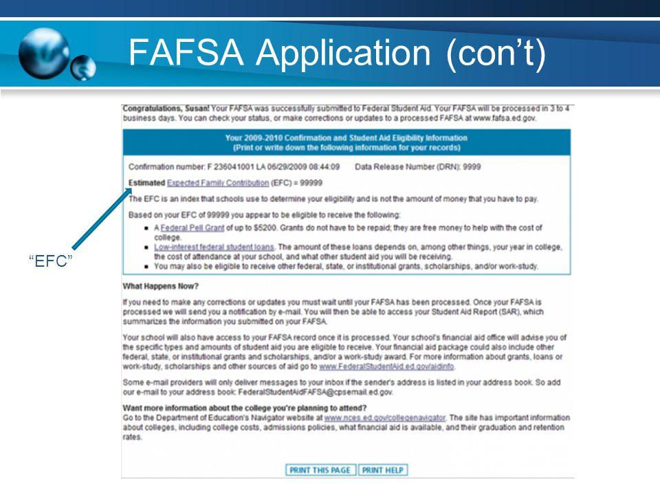 FAFSA Application (cont) EFC