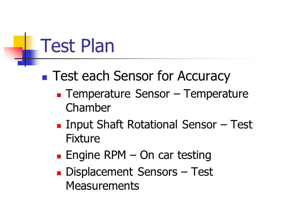 Test Plan Test each Sensor for Accuracy Temperature Sensor – Temperature Chamber Input Shaft Rotational Sensor – Test Fixture Engine RPM – On car testing Displacement Sensors – Test Measurements