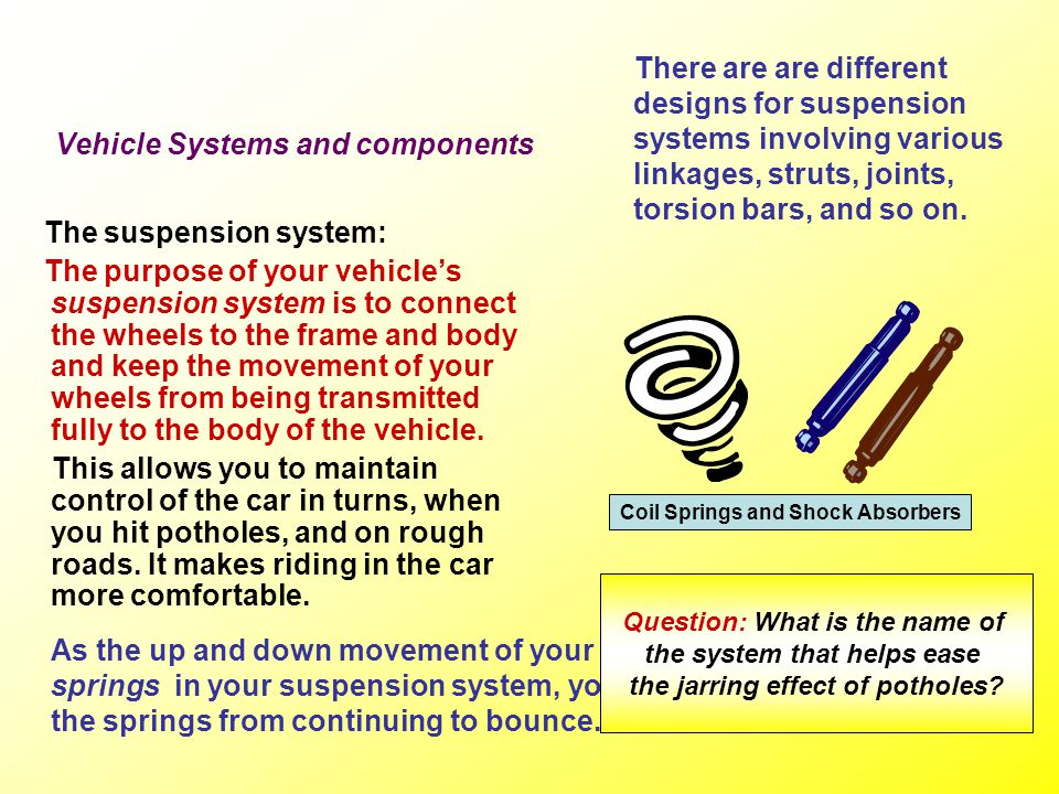 Vehicle Systems and components The steering system: A vehicles steering wheel is attached to a steering column or shaft which terminates in the steeri