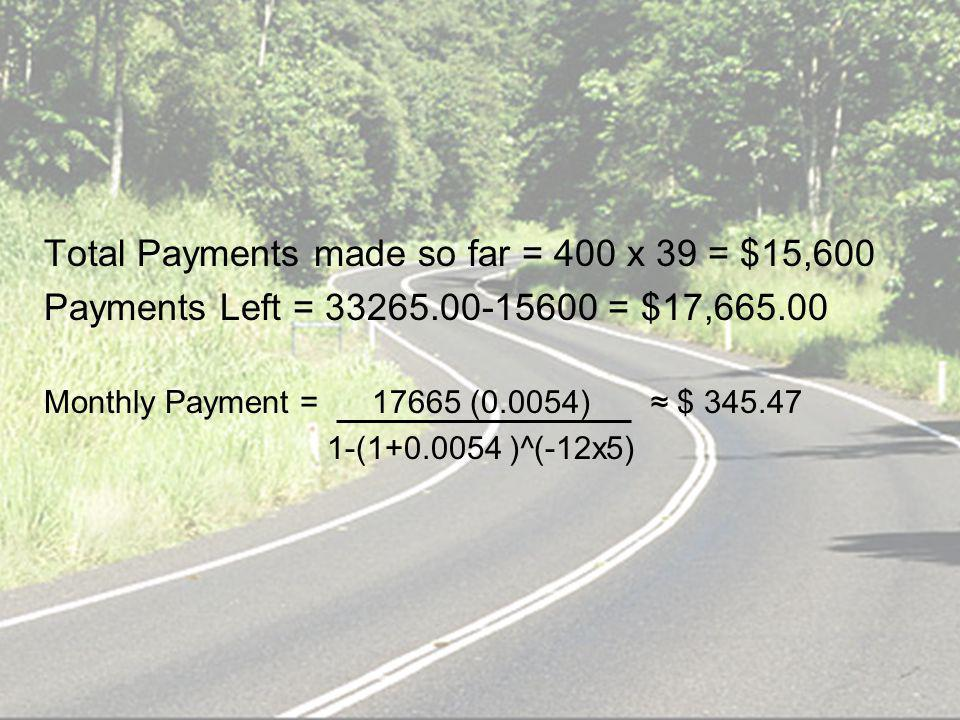 Total Payments made so far = 400 x 39 = $15,600 Payments Left = 33265.00-15600 = $17,665.00 Monthly Payment = 17665 (0.0054) $ 345.47 1-(1+0.0054 )^(-12x5)