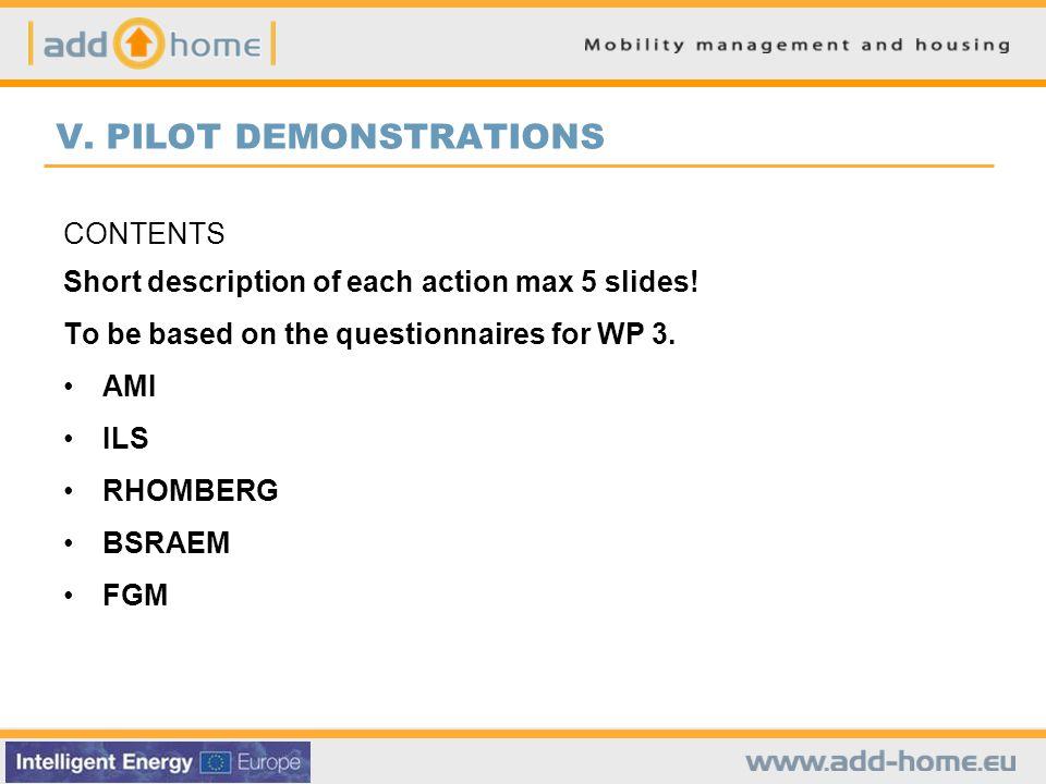 CONTENTS Short description of each action max 5 slides.