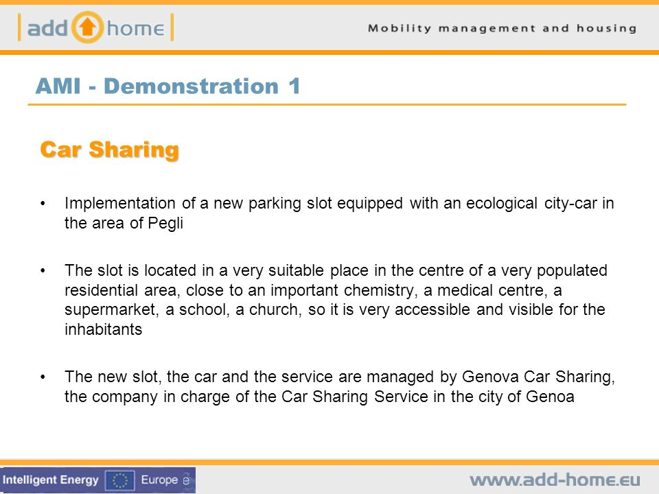 Rhomberg – Demonstration 1 Mobility Services Sandgrubenweg Delivery service Map of neighbourhood Mobility counselling Parking area for bicycles with repair station Carsharing with free credit Removal service On-site bicycle repair service