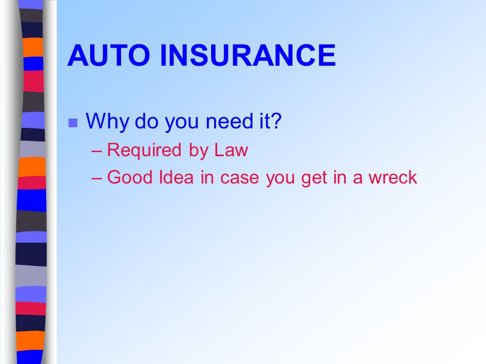 AUTO INSURANCE Why do you need it –Required by Law –Good Idea in case you get in a wreck