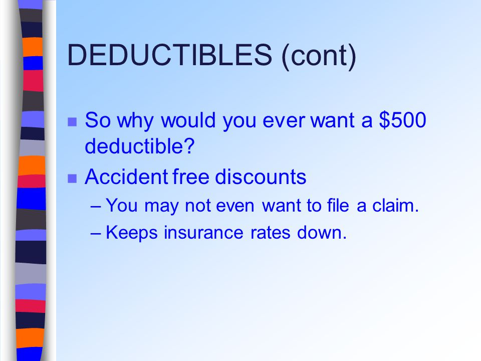 DEDUCTIBLES (cont) So why would you ever want a $500 deductible.
