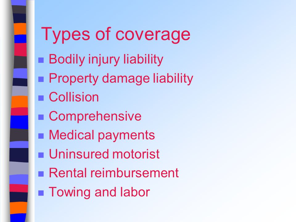 Types of coverage Bodily injury liability Property damage liability Collision Comprehensive Medical payments Uninsured motorist Rental reimbursement Towing and labor