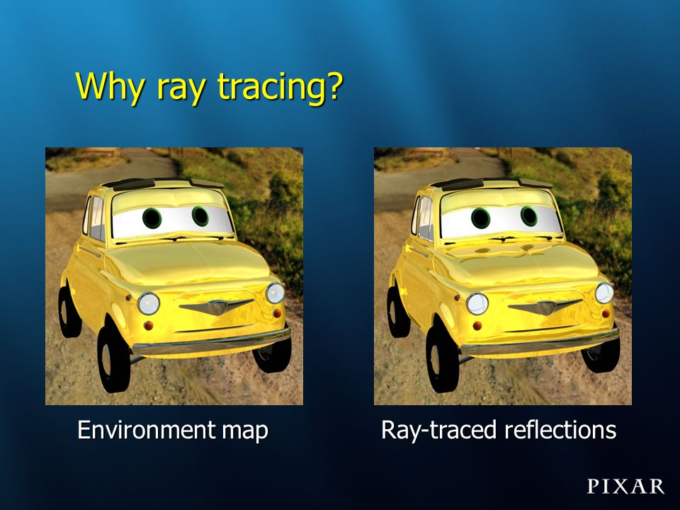 Ray differentials to the rescue Keep track of differences between neighbor raysKeep track of differences between neighbor rays Trace rays; each ray represents a beam [Igehy 1999]Trace rays; each ray represents a beam [Igehy 1999]