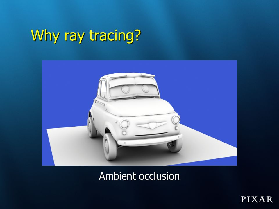 Ray differentials: use Ray differentials tell us: Required tessellation rate of geometryRequired tessellation rate of geometry –Quad sizes ~ ray beam cross-section Required texture resolutionRequired texture resolution –Pixel sizes ~ ray beam projected onto surface