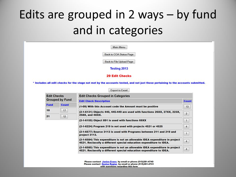 Edits are grouped in 2 ways – by fund and in categories