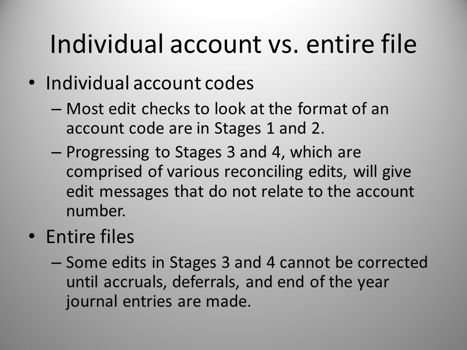 Individual account vs.