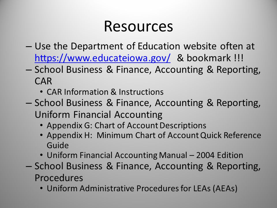 Resources – Use the Department of Education website often at https://www.educateiowa.gov/ & bookmark !!.