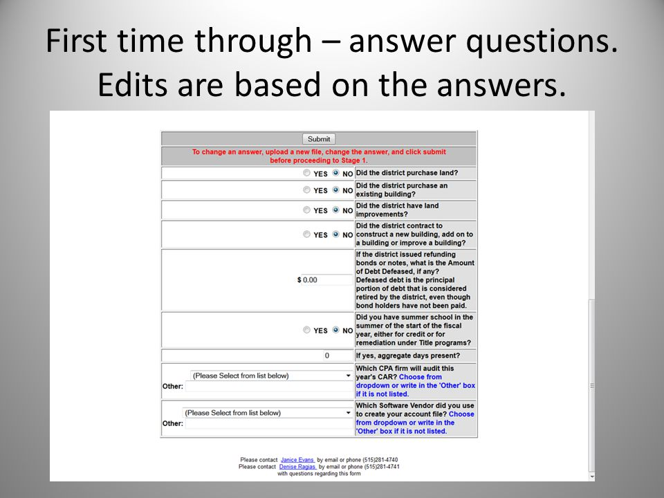 First time through – answer questions. Edits are based on the answers.