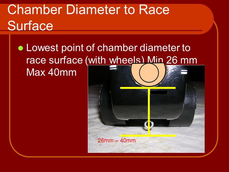 Chamber Diameter to Race Surface Lowest point of chamber diameter to race surface (with wheels) Min 26 mm Max 40mm 26mm – 40mm