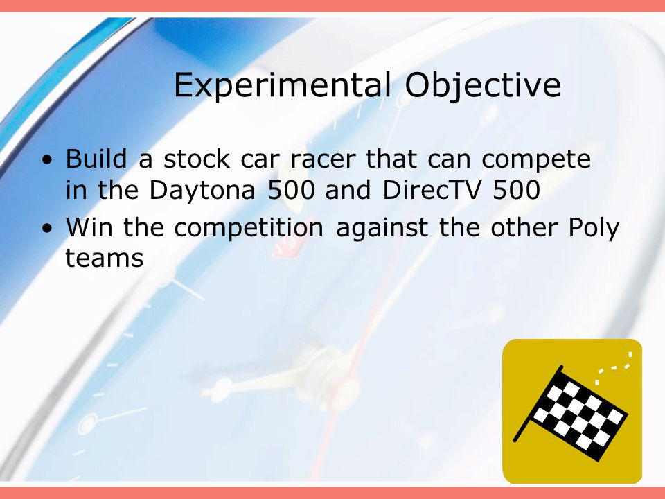 Experimental Objective Build a stock car racer that can compete in the Daytona 500 and DirecTV 500 Win the competition against the other Poly teams