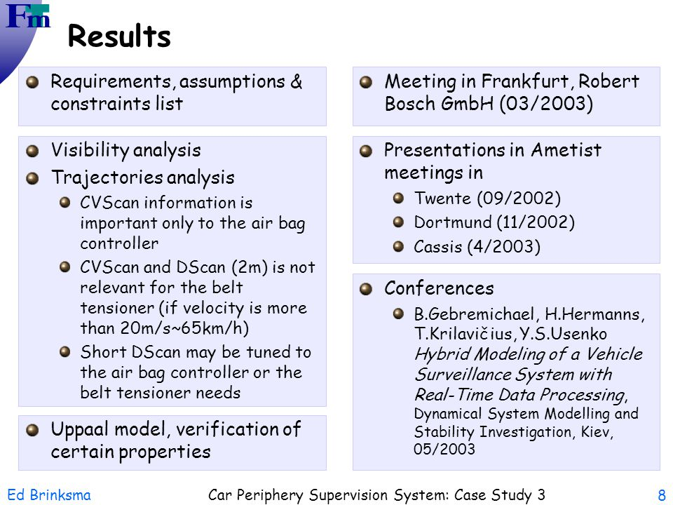Ed Brinksma Car Periphery Supervision System: Case Study 3 8 Results Requirements, assumptions & constraints list Visibility analysis Trajectories ana