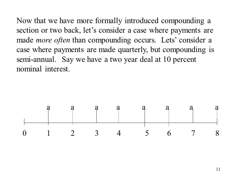 11 Now that we have more formally introduced compounding a section or two back, lets consider a case where payments are made more often than compounding occurs.