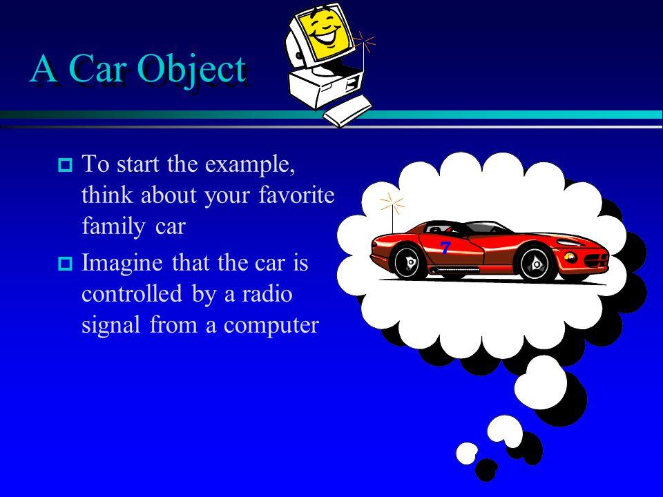 A Car Class public class Car {...