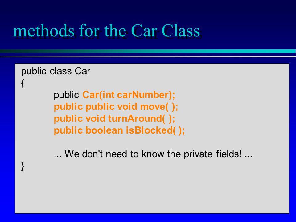 public static void main(...) { Car racer = new Car(7);...