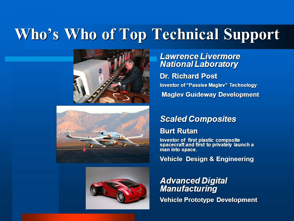 Whos Who of Top Technical Support Lawrence Livermore National Laboratory Dr. Richard Post Inventor of Passive Maglev Technology Maglev Guideway Develo