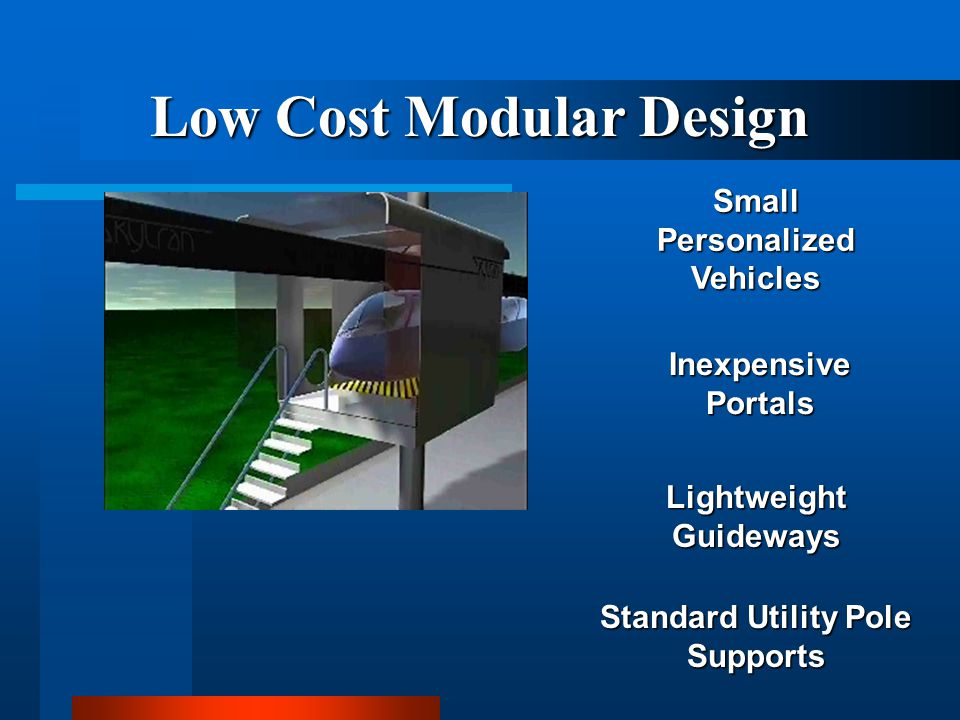 Small Personalized Vehicles Lightweight Guideways Inexpensive Portals Standard Utility Pole Supports Low Cost Modular Design