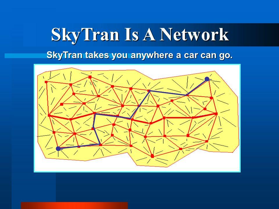 SkyTran Is A Network SkyTran takes you anywhere a car can go.