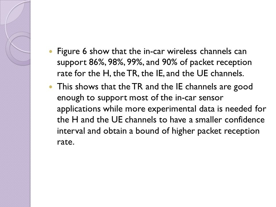 Figure 6 show that the in-car wireless channels can support 86%, 98%, 99%, and 90% of packet reception rate for the H, the TR, the IE, and the UE chan