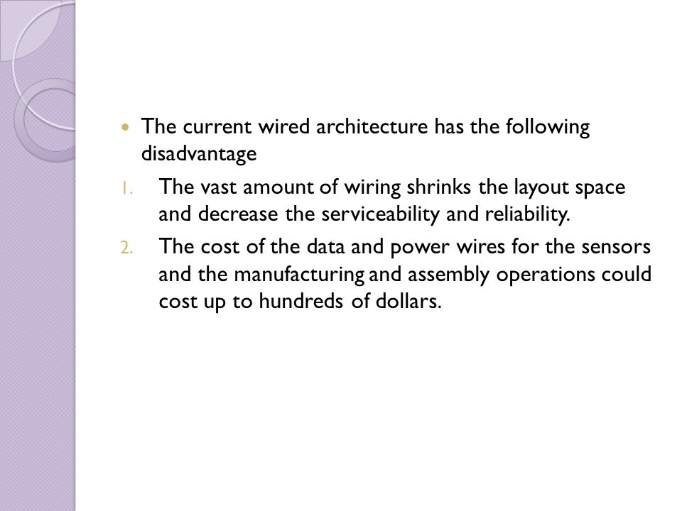 The current wired architecture has the following disadvantage 1. The vast amount of wiring shrinks the layout space and decrease the serviceability an