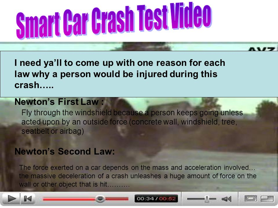 I need yall to come up with one reason for each law why a person would be injured during this crash…..