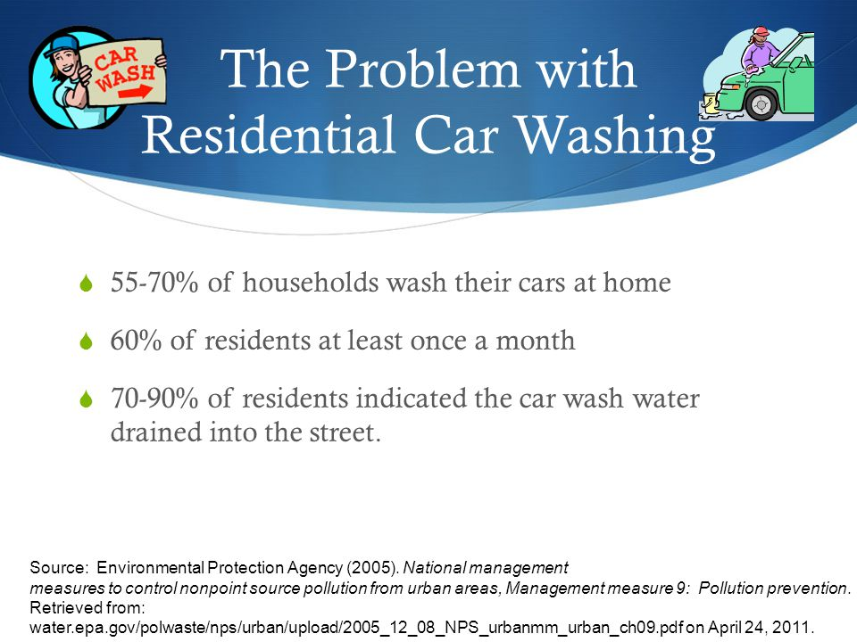 The Problem with Residential Car Washing 55-70% of households wash their cars at home 60% of residents at least once a month 70-90% of residents indicated the car wash water drained into the street.
