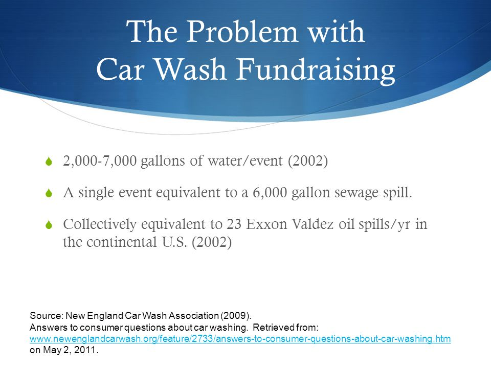 The Problem with Car Wash Fundraising 2,000-7,000 gallons of water/event (2002) A single event equivalent to a 6,000 gallon sewage spill.