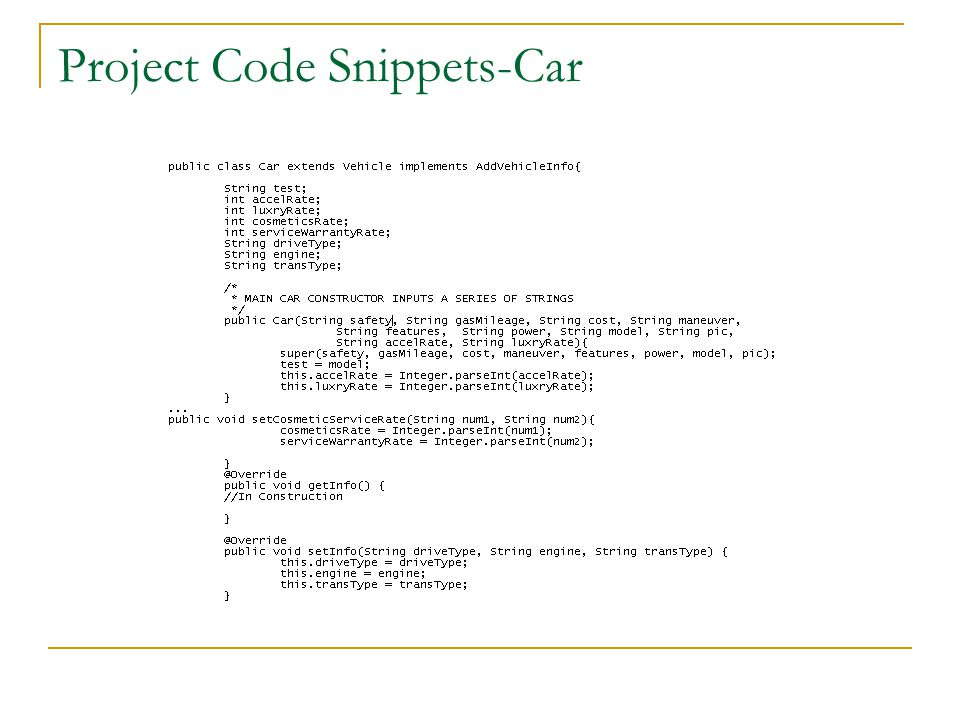 Project Code Snippets-Car