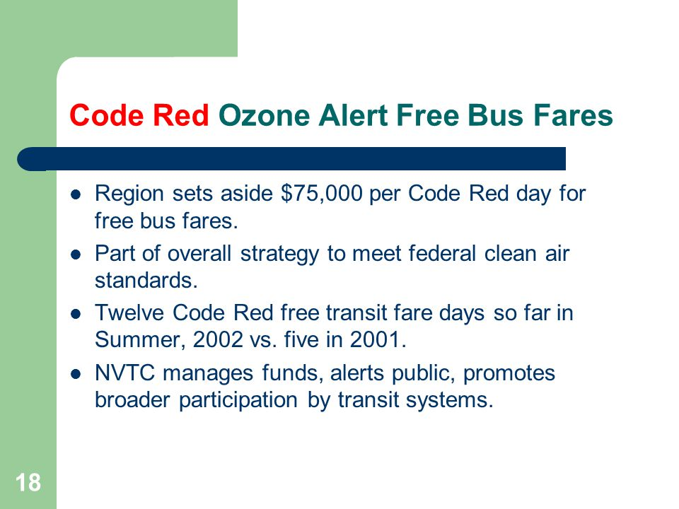 18 Code Red Ozone Alert Free Bus Fares Region sets aside $75,000 per Code Red day for free bus fares.