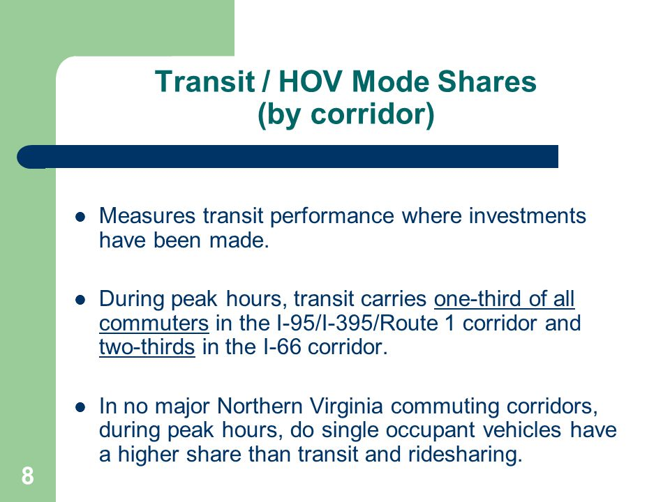 9 Transit/HOV Time Savings The Texas Transportation Institute reports the travel time indices for the I-66/I-95/I-395 HOV lanes are twice as good as the indices for the parallel conventional lanes.
