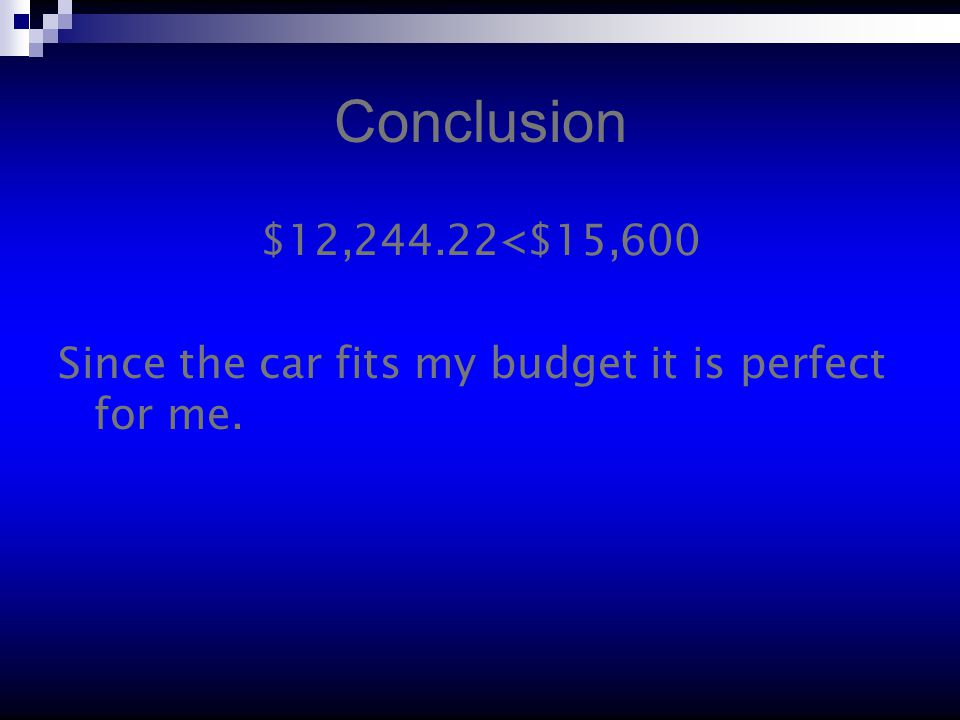 Conclusion $12,244.22<$15,600 Since the car fits my budget it is perfect for me.