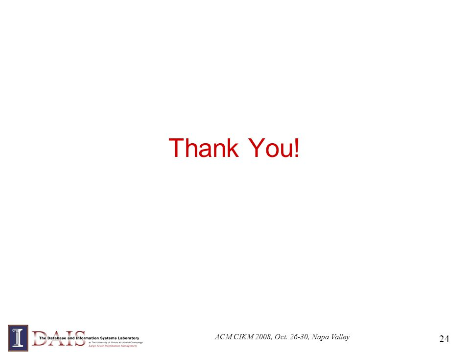 ACM CIKM 2008, Oct. 26-30, Napa Valley 24 Thank You!